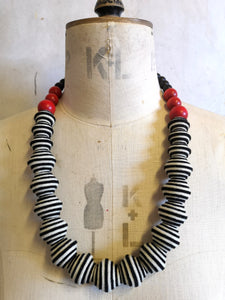 New Wave Necklace in Black White & Red