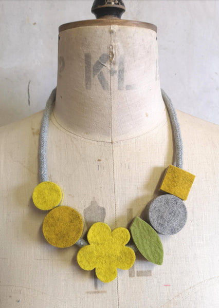 Pop Flower Necklace Mustard & Grey