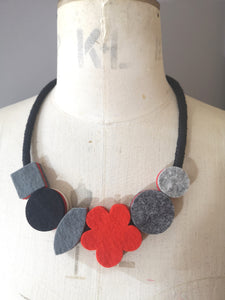 Pop Flower Necklace Grey, Black & Red (Reversible)