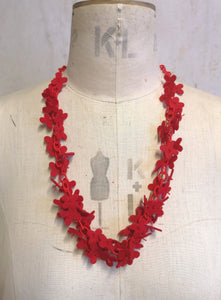 Long flower Confetti Necklace, Scarlet