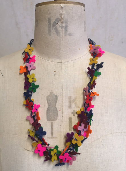 Long flower Confetti Necklace, Multi colour