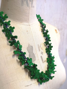 Long flower Confetti Necklace, Emerald