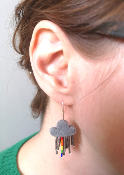 Little Rain Cloud Earrings, with a glimpse of Rainbow