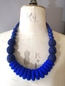 Throw on Merino and Wood Necklace Cobalt
