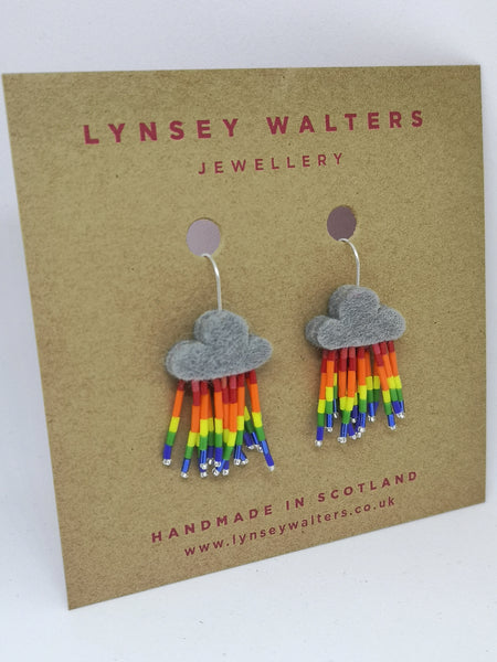 Little Rain Cloud Earrings, with Rainbow Rain
