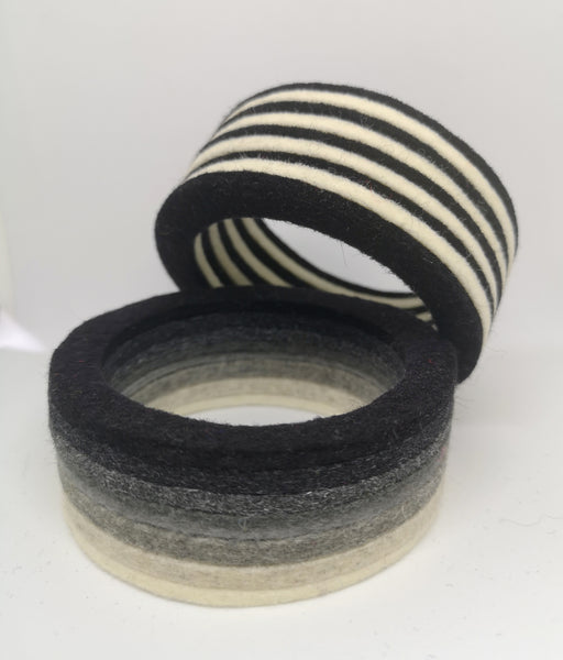 Chunky Bangle Black & White Ombre