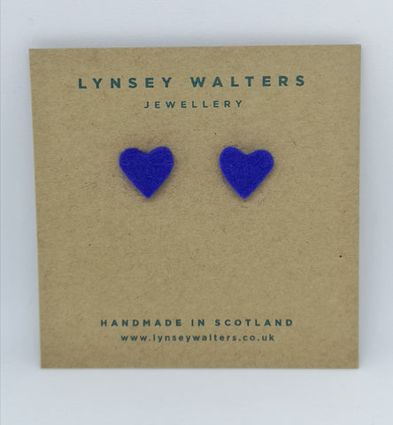 Tiny heart studs - blue