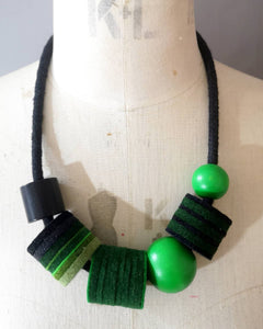 Industrial Felt, Wood and Rope Necklace - Greens & Black