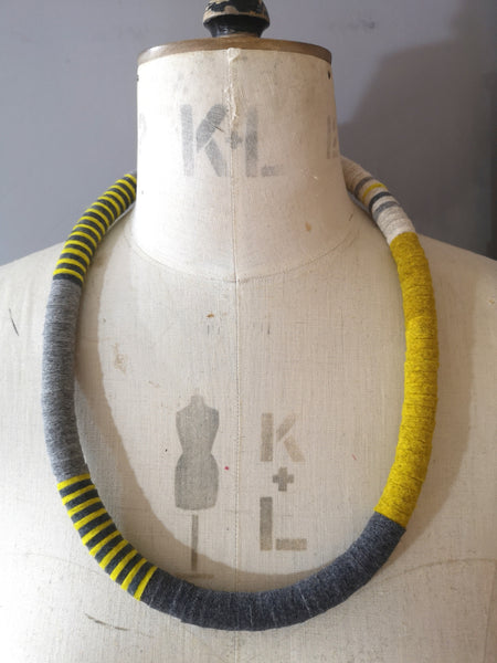 NEW Velvet Edge Throw On Necklace Mustard & Grey