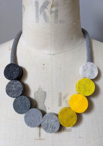 Industrial Beads Necklace Mustard