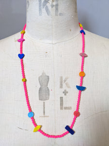 Charm Necklace - Neon Pink Glass Beads