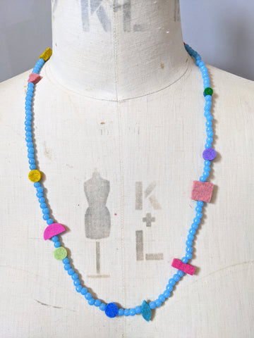Charm Necklace - Vintage Blue Glass Beads