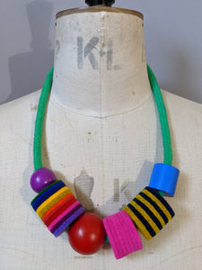 Industrial Felt, Wood and Rope Necklace - Brights