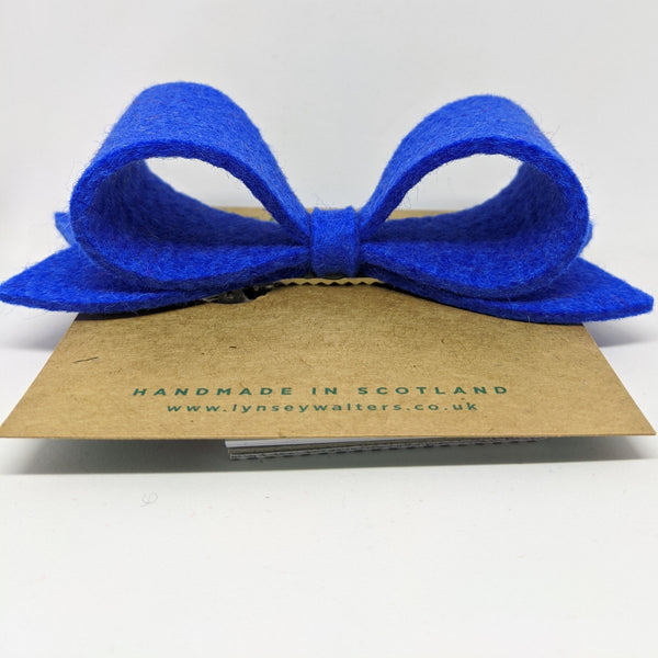 *NEW Bow Crocodile Clip - New Blue