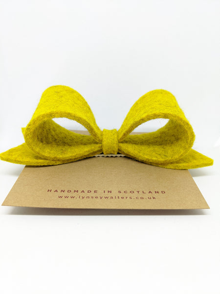 *NEW Bow Crocodile Clip - Mustard