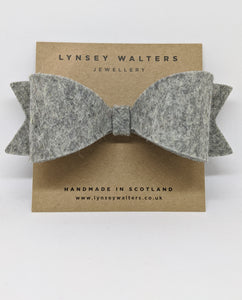 Bow Crocodile Clip - Mottled Grey