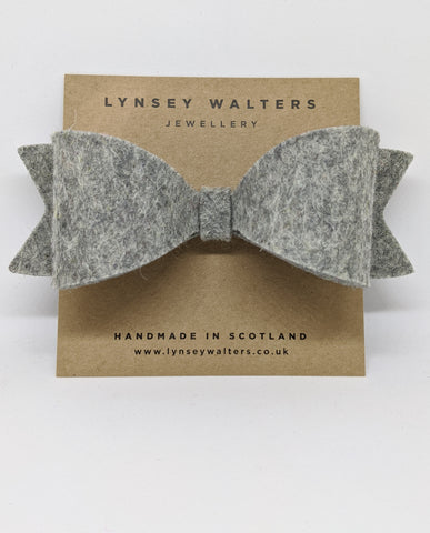 *NEW Bow Crocodile Clip - Mottled Grey