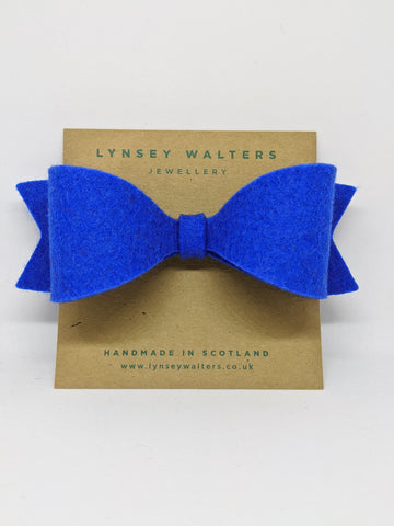 Bow Crocodile Clip - New Blue