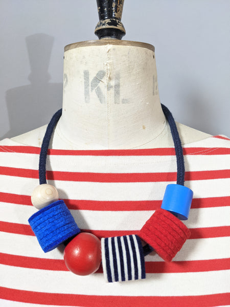 *New Industrial Felt, Wood and Rope Necklace - Light Breton