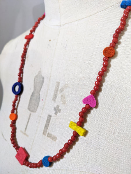 Charm Necklace - Vintage Terracotta Red Glass Beads