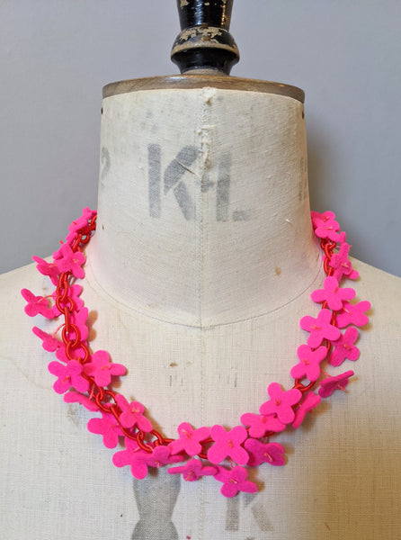 Flower Confetti Necklace Neon Pink