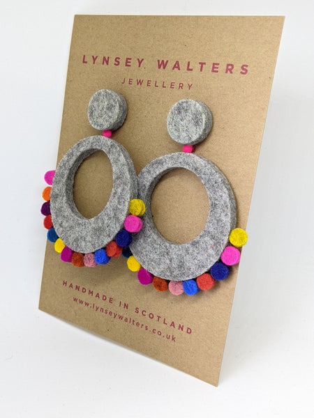 Large Festival Earrings - Grey