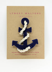 Anchor & Rope Brooch - Navy
