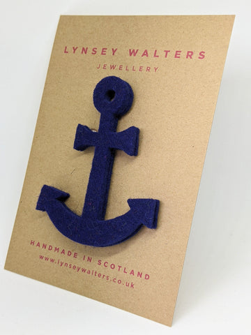 Anchor Brooch - Navy