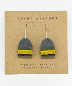 Stripe Earrings - Mustard & Grey
