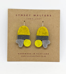 Heart Pick 'n' Mix Earrings - Mustard & Grey
