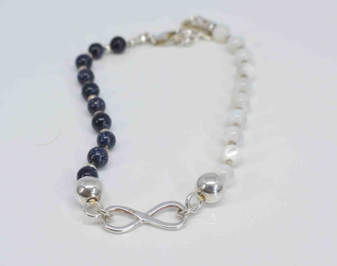 Mother of Pearl & Blue Goldstone Bracelet - Pixi Daisy