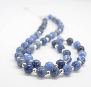 Handmade Sodalite Semi Precious Gemstone Necklace with Silver Beads - pixi-daisy