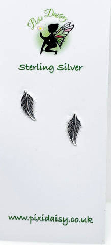 Feather Sterling Silver Stud Earrings - pixi-daisy