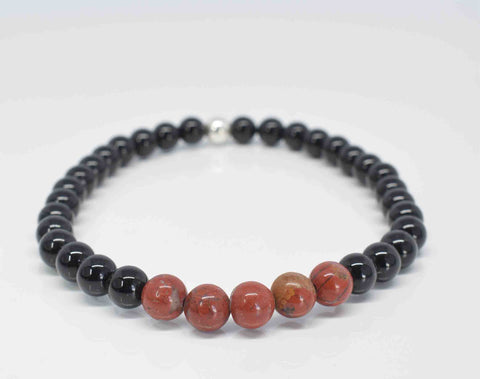 Black Onyx & Red Jasper Men's Stretch Bracelet _- Pixi daisy