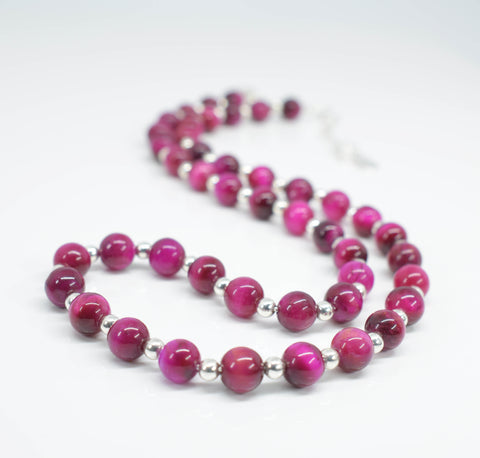 Handmade Pink Tiger Eye Necklace - Pixi Daisy