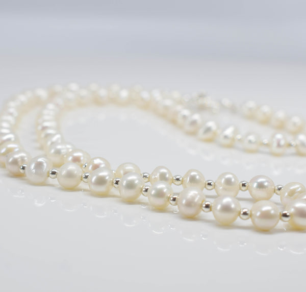 "Handmade 18"" freshwater pearl necklace - Pixi Daisy"