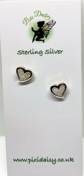 Small White Opal Heart Ear Studs