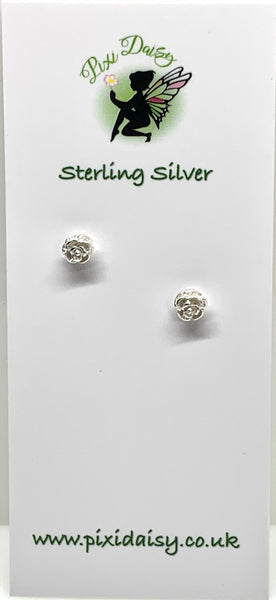 Silver Rose Ear Studs from Pixi Daisy