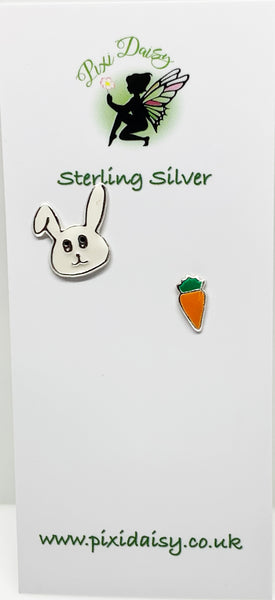 Rabbit and Carrot Ear Studs from Pixi Daisy