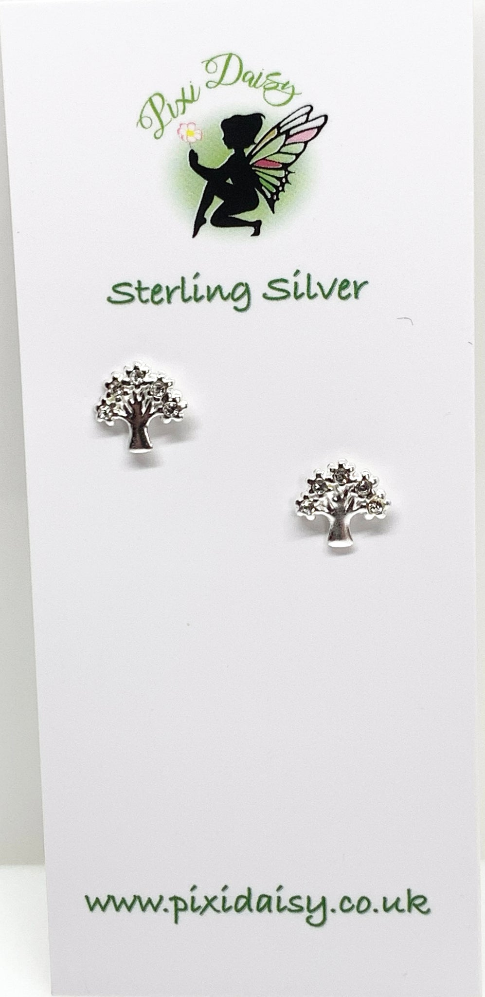 Silver Tree with Crystals ear Studs from Pixi Daisy