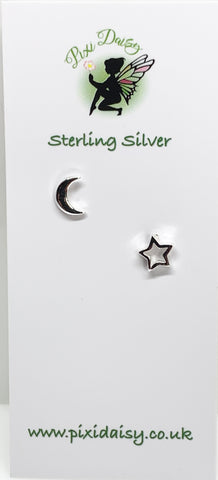 Silver Moon & Star Ear Studs from Pixi Daisy