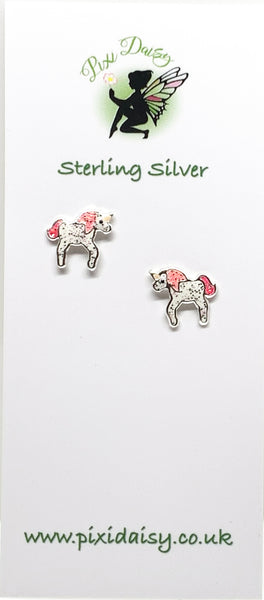 Pink & White Unicorn Ear Studs from Pixi Daisy