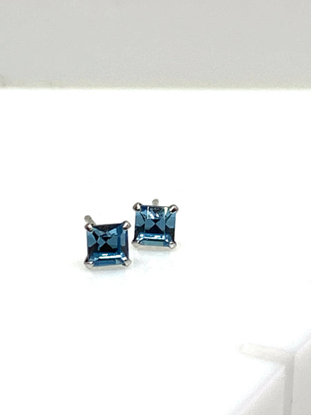 Square Aqua Crystal Ear Studs from Pixi Daisy