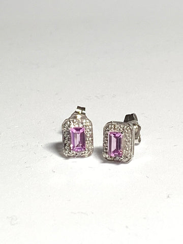 Pink Sapphire White Gold Stud Earrings - pixi-daisy