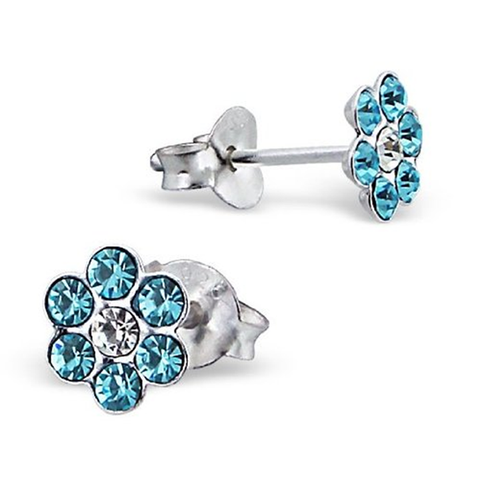 Sparkly Flower Sterling Silver Stud Earrings With Blue Crystal Stones - pixi-daisy