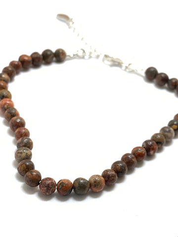 Leopardskin Semi Precious Gemstone Necklace on Silver Bead Chain