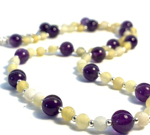 Amethyst, Agate Gem Stones & Silver Bead Necklace
