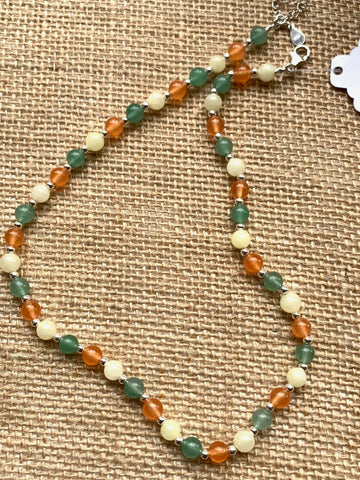 Adventurine & Jade Gem Stones with Silver Beads Necklace