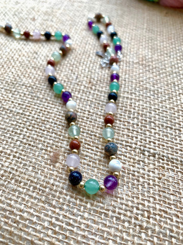 Mixed Semi-precious gem stones with gold filled beads - pixi-daisy
