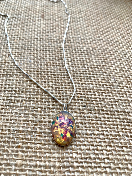 Fire Glass Opal on 18 inch silver box chain - pixi-daisy